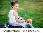 happy adorable little kid girl... | Shutterstock . vector #1151225678