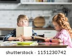 little brother and sister doing ... | Shutterstock . vector #1151230742