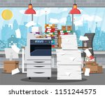 pile of office papers  printer... | Shutterstock .eps vector #1151244575