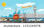 plane before takeoff. airport... | Shutterstock .eps vector #1151244578