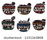 set of hand drawn bowls with...   Shutterstock .eps vector #1151263808