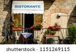 typical sidewalk restaurant in...   Shutterstock . vector #1151269115