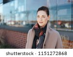 thoughtful stylish woman with a ... | Shutterstock . vector #1151272868