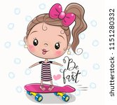 cute girl with a pink bow and a ... | Shutterstock .eps vector #1151280332