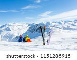 snowboarder and skiier sitting... | Shutterstock . vector #1151285915