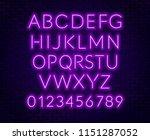 neon purple alphabet on brick... | Shutterstock .eps vector #1151287052