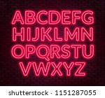 neon red alphabet on brick wall ... | Shutterstock .eps vector #1151287055