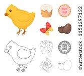 easter cake  chicken  butterfly ...   Shutterstock . vector #1151297132