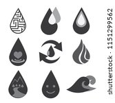 water icon set on black and... | Shutterstock .eps vector #1151299562