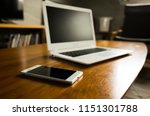 laptop and smartphone on the... | Shutterstock . vector #1151301788