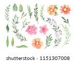 watercolor illustration. summer ... | Shutterstock . vector #1151307008