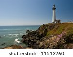 Pigeon Point Light Station is a lighthouse built in 1871 to guide ships on the Pacific coast of California. - stock photo
