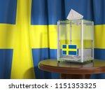 ballot box with flag of sweden... | Shutterstock . vector #1151353325