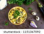 spicy salad of fried eggplant ... | Shutterstock . vector #1151367092