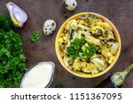 spicy salad of fried eggplant ... | Shutterstock . vector #1151367095