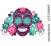 skull and roses  colorful day... | Shutterstock .eps vector #115139845