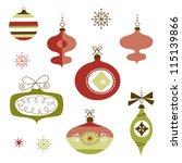 set of retro christmas ornaments | Shutterstock .eps vector #115139866