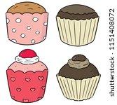 vector set of cupcakes | Shutterstock .eps vector #1151408072