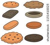 vector set of cookies and... | Shutterstock .eps vector #1151410025