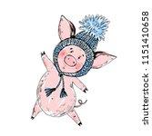 cute piggy in a hat. vector... | Shutterstock .eps vector #1151410658