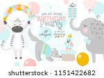 birthday invitation with cute... | Shutterstock .eps vector #1151422682