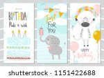 Stock vector set of birthday greeting cards and party invitation templates with cute elephant zebra and cake 1151422688