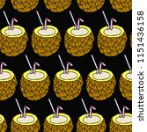cocktail pineapple illustration. | Shutterstock . vector #1151436158