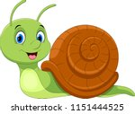 Cute Cartoon Snail Isolated On...