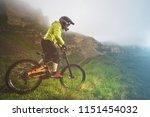 a man in a mountain helmet... | Shutterstock . vector #1151454032