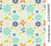 seamless pattern with flower.... | Shutterstock .eps vector #1151458985