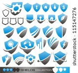 Security shield - set of shield icons, symbols and signs