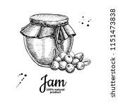 cranberry jam glass jar vector... | Shutterstock .eps vector #1151473838