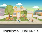 cartoon family in front of a... | Shutterstock .eps vector #1151482715