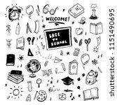back to school doodles set ... | Shutterstock .eps vector #1151490695