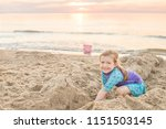 young girl in purple swimsuit... | Shutterstock . vector #1151503145