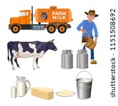 dairy farm set. milk products.... | Shutterstock .eps vector #1151508692