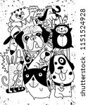 Stock vector animals dogs vector background hand drawn doodles pets cute cats and dogs vector illustration 1151524928