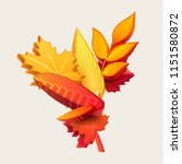 composition of 3d autumn leaves | Shutterstock .eps vector #1151580872