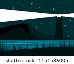 glowing lighthouse against the... | Shutterstock .eps vector #1151586005