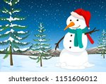 a snowman in nature illustration | Shutterstock .eps vector #1151606012