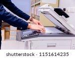 bussiness man hand press button ... | Shutterstock . vector #1151614235