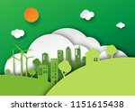 green eco friendly city and... | Shutterstock .eps vector #1151615438