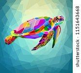 Stock vector colorful turtle floating underwater in the geometric blue water ocean 1151643668