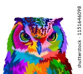Stock vector colorful owl with style pop art 1151646098