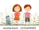 kids boy girl and cat in grass... | Shutterstock .eps vector #1151649005