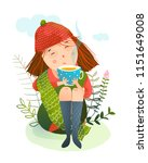 autumn girl and warm cup of tea....   Shutterstock .eps vector #1151649008