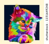 Adorable Colorful Animal Cat In ...
