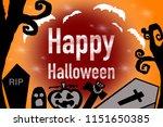 happy halloween text banner.... | Shutterstock . vector #1151650385