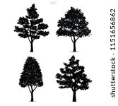 set of tree silhouettes... | Shutterstock .eps vector #1151656862