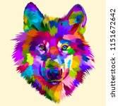 colorful wolf head icon on pop... | Shutterstock .eps vector #1151672642